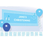 Banner Christening Booties - Blue Personalize It 120 x 45 cm