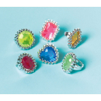 18 Jewel Rings Plastic 2.3 x 1.7 cm