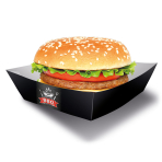 4 Burger Boxes BBQ Party Paper Squared 13 x 13 cm