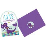 8 Invitations & Envelopes & Stickers Mermaid Wishes Paper 10.7 x 15.8 cm