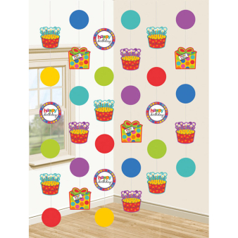 6 String Decorations Dots and Stripes 210 cm