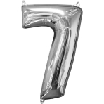 Mid Size Number 7 Silver Foil Balloon L26 Packaged 43cm x 66cm