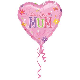 Standard Love You Mum Foil Balloon S40 packaged