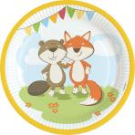 8 Plates Fox & Beaver Paper Round 22.8 cm