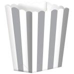 5 Popcorn Boxes Stripes Silver Paper 6.3 x 13.4 x 3.8 cm