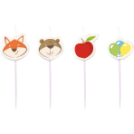 4 Mini Character Candles Fox & Beaver Height 7 cm