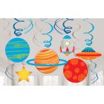 12 Swirl Decorations Blast Off Foil / Paper 61 cm
