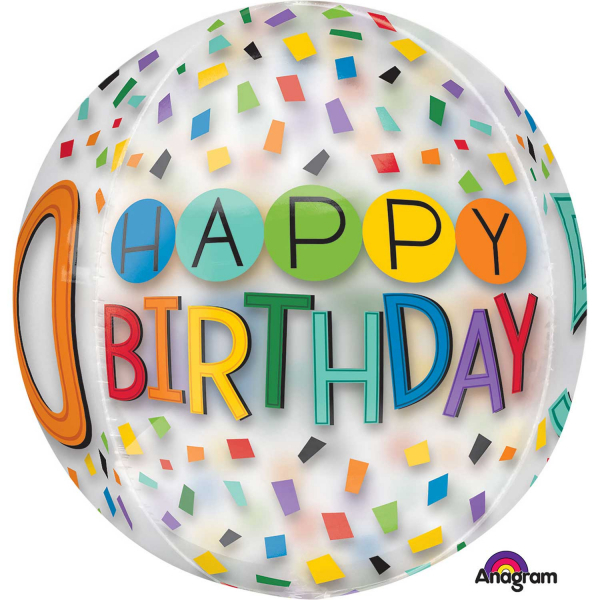 Orbz Happy 50th Birthday Rainbow Foil Balloon Clear G20 Packed 38 X 40cm