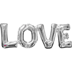 """SuperShape Phrase """"Love"""" Silver Foil Balloon P35 Packaged 63x 22 cm"""