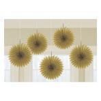 5 Fan Decorations Gold Paper 15.2 cm