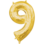 MiniShape Number 9 Gold Foil Balloon L16 Packaged 20cm x 35c