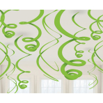 12 Swirl Decorations Kiwi Green Foil 55.8cm