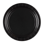 8 Plates Black Round Paper 23 cm