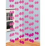6 String Decorations Pink Shimmer 40 210 cm
