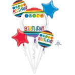 "Bouquet ""Rainbow Birthday Personalize It!"" Foil Balloon  , P90, packed,"