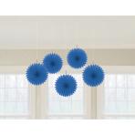 5 Fan Decorations Bright Royal Blue Paper 15.2 cm