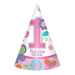 8 Party Cone Hats Sweet Birthday Girl 16 cm