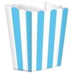 5 Popcorn Boxes Stripes Caribbean Blue Paper 6.3 x 13.4 x 3.8 cm