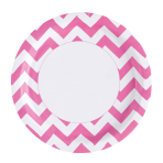8 Plates Bright Pink Chevron Paper Round 22.8 cm