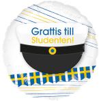 Standard Grattis till studenten Foil Balloon Round, S40, packed, 43 cm