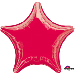 "Standard ""Metallic Red"" Foil Balloon Star, S15, packed, 48cm"