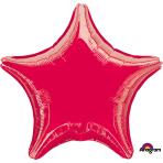 "Standard ""Metallic Red"" Foil Balloon Star, S15, packed, 48cm"