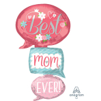 "Multi-Ballon ""Best Mom Ever Bubbles"" Foil Balloon, P70, packed, 71 x 134cm"