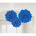 3 Fluffy Decorations Bright Royal Blue Paper 40.6 cm