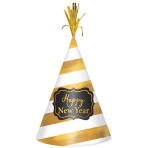 Cone Hat Happy New Year White Gold Foil Striped 22 cm