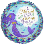 Standard Mermaid Wishes & Kisses Foil Balloon S40 packaged
