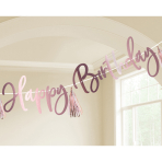 Letter Banner Rose Gold Birthday Personalizable 2.74 m