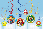 12 Swirl Decorations Super    Mario Foil / Paper 61 cm