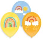 6 Latex Balloons Retro Rainbow 4 Colour Print 27.5 cm
