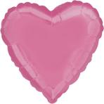 "Standard ""Bright Bubble Gum Pink"" Foil Balloon Heart, S15, bulk, 43cm"
