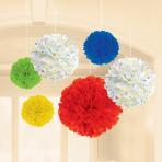 6 Fluffy Decorations Balloon Bash Paper 22.8 cm / 30.4 cm / 40.6 cm