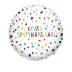 Standard EU Confetti Birthday Hyvää Syntymäpäivää Foil Balloon Circle S40 Packaged