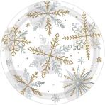 8 Plates Shining Snow Round   Metallic Paper 17,7 cm