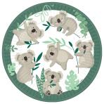8 Plates Koala Round Paper 23 cm