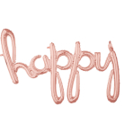 CI: Phrases Script Phrase Happy Rose Gold Foil Balloon G40 Packaged 99cm x 68cm