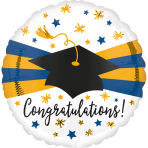 Standard Blue and Gold Grad Foil Balloon S40 packaged