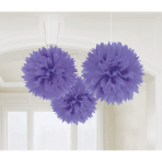3 Fluffy Decorations New Purple Paper 40.6 cm