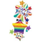 "Multi-Balloon ""HBD Bright Stars"" Foil Balloon, P70, packed, 93 x 170cm"
