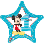 "Standard ""Mickey 1st Birthday"" Foil Balloon Round, S60, packed, 43cm"