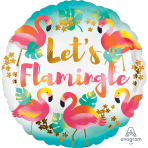 "Standard ""Let's Flamingle"" Foil Balloon Round, S40, packed, 43cm"