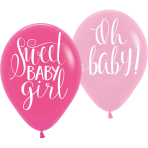 """6 Latex Balloons Floral Baby 27.5 cm / 11"""""""