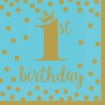 16 Napkins 1st Birthday Blue & Gold 33 cm