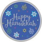 18 Plates Eight Happy Nights Hanukkah Paper Round 17.7cm