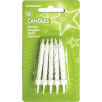 10 Glitter Candles with Holders White