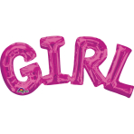 "SuperShape Phrase ""Girl"" Pink Foil Balloon P35 Packaged 55 x25 cm"