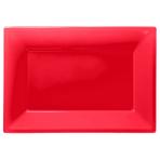 3 Platters Apple Red Plastic Rectangular 33 x  23 cm